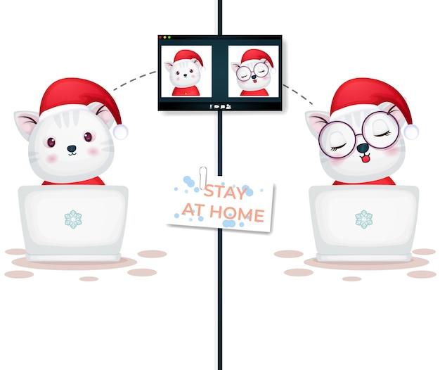 Videochamada de gatinho fofo no laptop no dia de natal