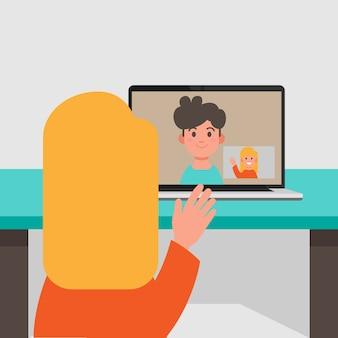 Videochamada entre namorado e namorada