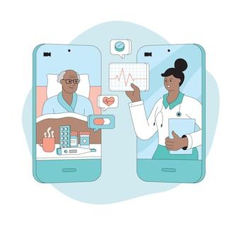 Videochamada médico paciente on-line conceito de telessaúde consulta médica ao paciente remota