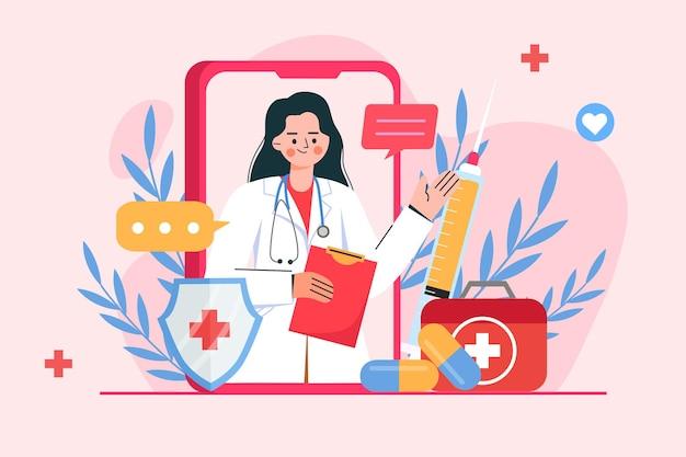 Videochamada online de um médico