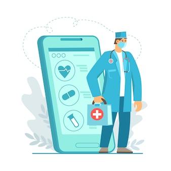 Videochamada para consulta médica através do aplicativo no smartphone conceito médico online