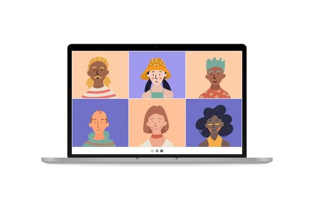 Videoconferência, colegas conversam na tela do laptop, trabalhando em casa