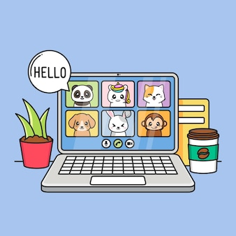 Videoconferência com animais fofos