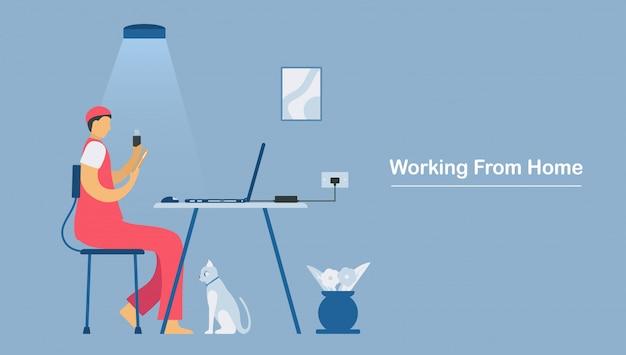 Videoconferência com o laptop em casa