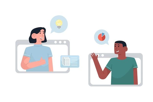 Videoconferência com parceiros para discussão de negócios