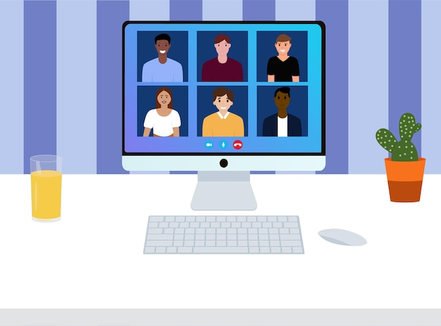 Videoconferência com pessoas. reunião de trabalho. chamada de vídeo em conferência. local de trabalho