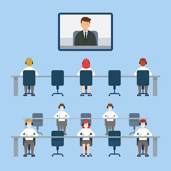 Videoconferência, conceito de distanciamento social, proteção, prevenção do coronavírus