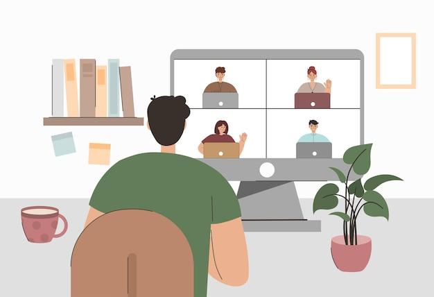 Videoconferência de casa para reuniões online e trabalho