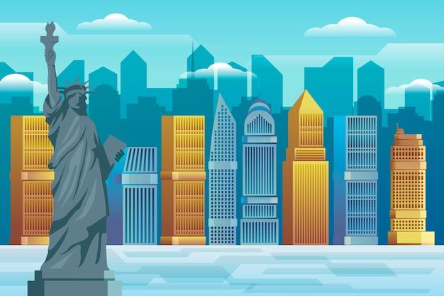 Videoconferência de fundo sobre pontos de referência da cidade