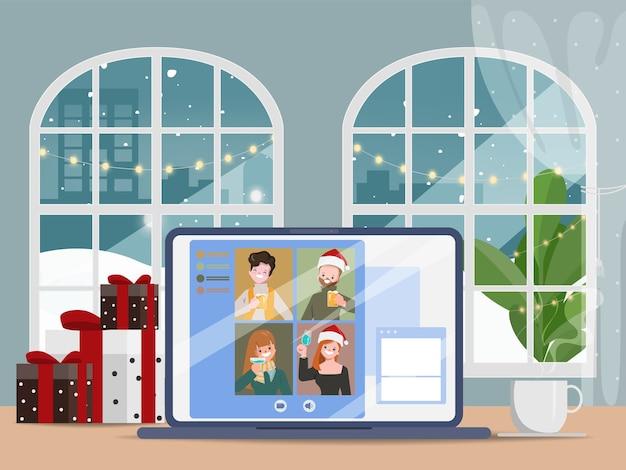 Videoconferência de pessoas nas férias de natal em casa