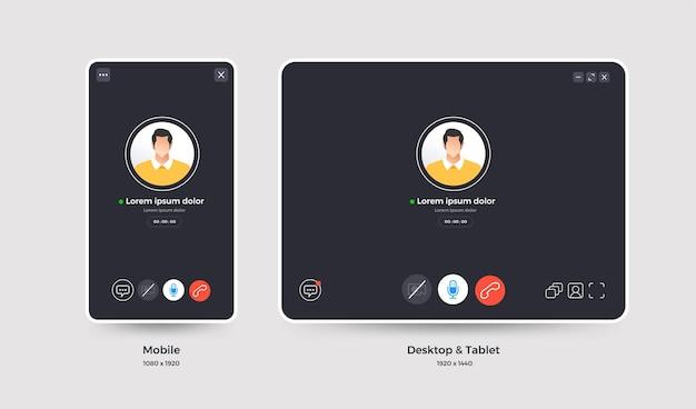 Videoconferência do conceito de design do modelo. formulário de trabalho de reunião online para casa. site de interface do usuário e aplicativo.
