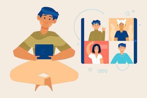 Videoconferência entre amigos