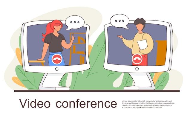 Videoconferência, espaço de trabalho para reuniões online. ilustração de conferência de chat de vídeo chamada. mulher e homem falando pela câmera da web se comunicando à distância. pessoas na tela do computador conversando com um colega