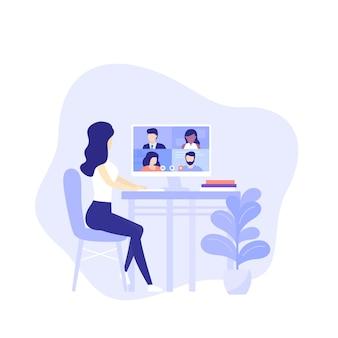Videoconferência, garota na reunião online, trabalho remoto, videochamada, ilustração vetorial