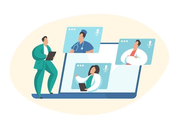Videoconferência médica. especialistas médicos de personagens de desenhos animados masculinos e femininos conectando-se on-line e conversando. teleconferência, ilustração em vetor plana conceito telemedicina