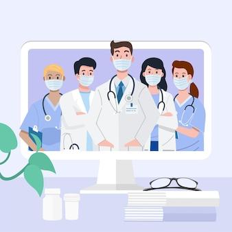 Videoconferência médica online com equipe de médicos e enfermeiras