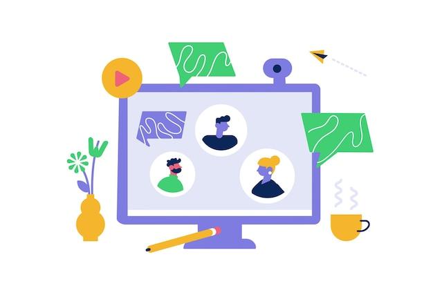 Videoconferência online em casa ou reunião de trabalho virtual