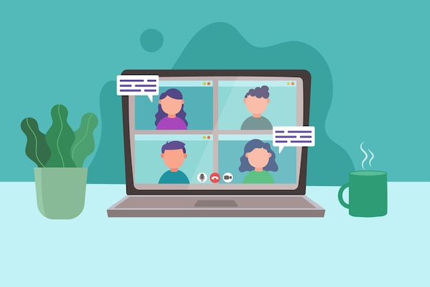 Videoconferência online no laptop