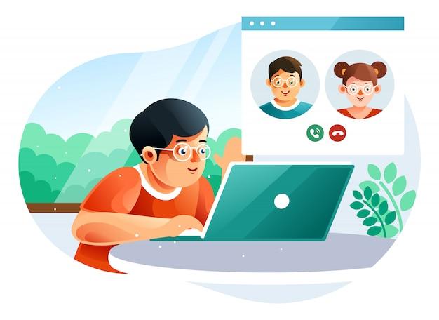 Videoconferência para crianças com um amigo em casa