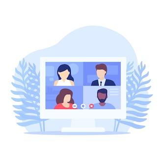 Videoconferência, reunião online, trabalho remoto, videochamada em grupo, ilustração vetorial