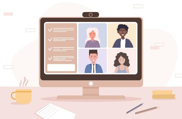 Videoconferência. trabalhando em casa. distanciamento social. discussão de negócios. ilustração em grande estilo.