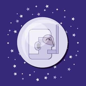 Videogame com ícone do jogador personagem menino dos desenhos animados sobre fundo roxo