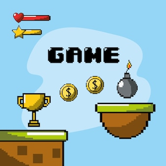 Videogame eletrônico com design gráfico