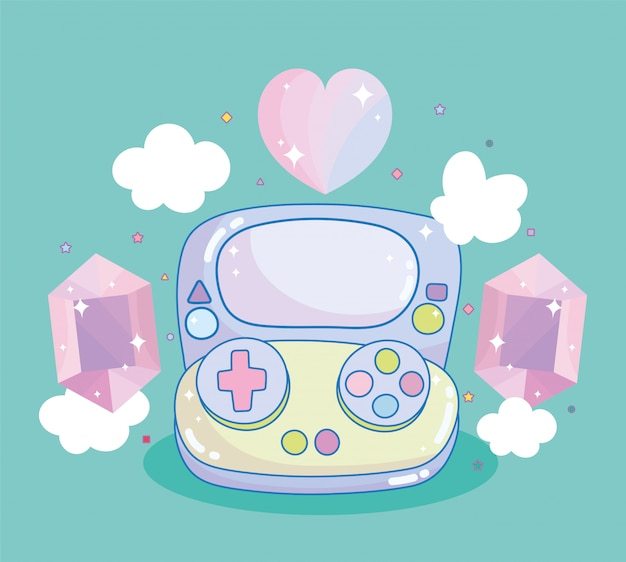 Videogame gamepad gemas coração diamante entretenimento gadget dispositivo eletrônico dos desenhos animados