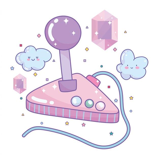 Videogame joystick gemas entretenimento gadget dispositivo eletrônico cartoon