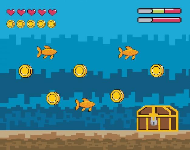 Videogame pixelizada cena sobre a água com cofre