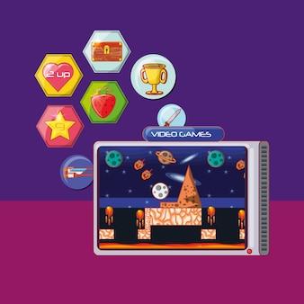 Videogame portátil com ícones relacionados ao redor sobre fundo roxo