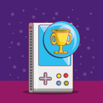 Videogame portátil com o ícone do troféu copo sobre fundo roxo