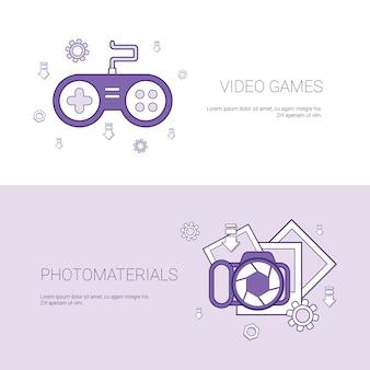 Videogames e foto materiais conceito modelo web banner com cópia espaço