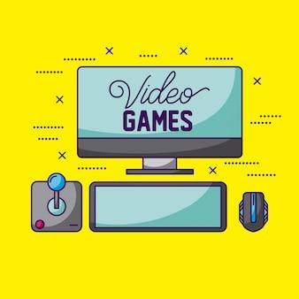Videogames, joystick, tela e mouse