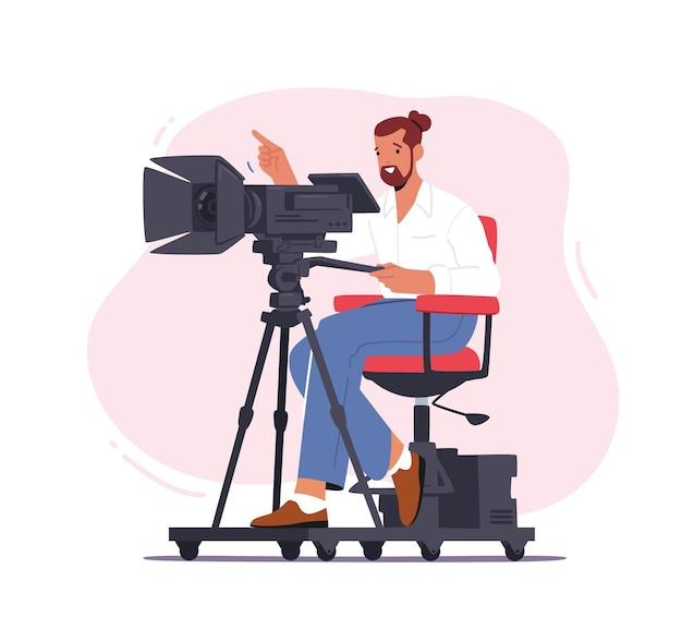 Videógrafo profissional personagem masculino com câmera para gravar vídeo