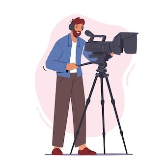 Videógrafo profissional personagem masculino grava vídeo ou filme na câmera