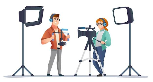 Videomaker profissional masculino e feminino com equipamento de videografia em estúdio de ilustração
