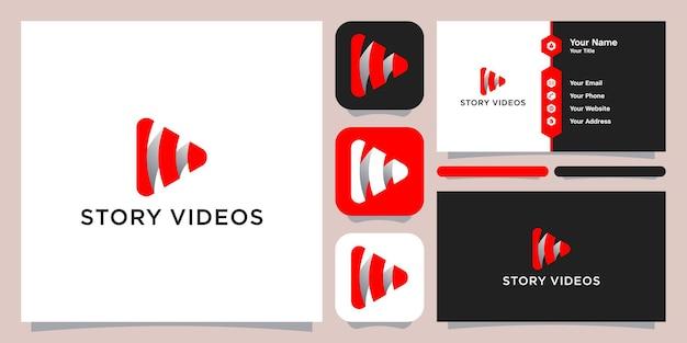 Vídeos de histórias modelo de símbolo de ícone de logotipo, logotipo e cartão de visita.