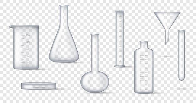 Vidraria de laboratório. copo de laboratório realista