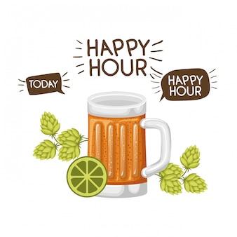 Vidro, com, cerveja, isolado, ícone