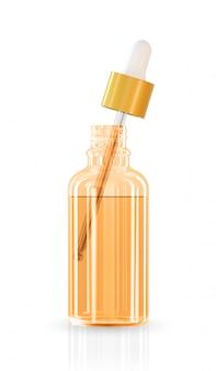 Vidro de cor diferente do recipiente cosmético realista com fundo de publicidade de solução de colágeno pronto para usar, creme de cuidados da pele de luxo. design de anúncio de produto de beleza. pipeta transparente