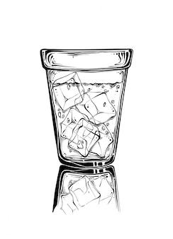 Vidro de esboço desenhado de mão com gelo na cor preta. isolado