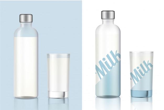 Vidro de leite transparente realista para produtos alimentares e bebidas
