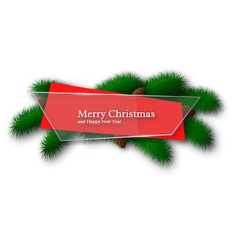 Vidro de natal e banner abstrato vermelho com galhos de pinheiro e pinhas. isolado no fundo branco.