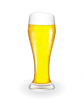 Vidro naturalista com cerveja fresca luz fria em incrustações altas