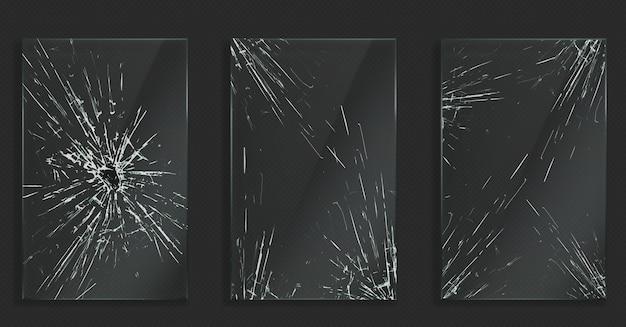 Vidro quebrado com rachaduras e orifícios de impacto