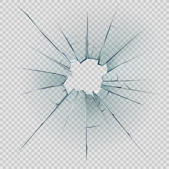 Vidro quebrado e rachado com estilhaços realistas
