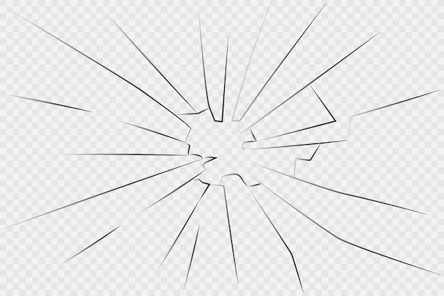 Vidro quebrado. vidro rachado em fundo branco