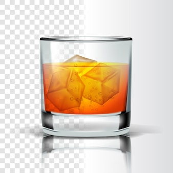 Vidro realista com cubos de gelo e bourbon