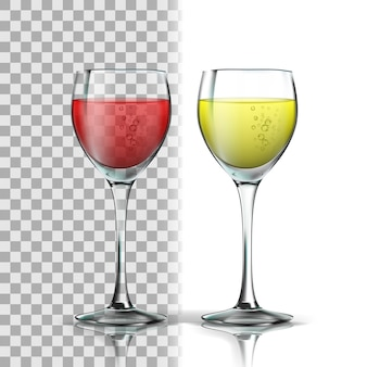 Vidro realista com vinho tinto e branco